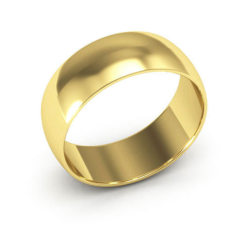 18K Yellow Gold 7mm half round  wedding bands