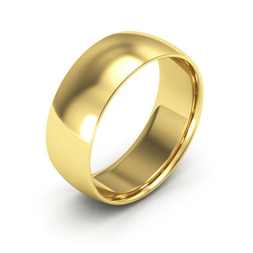 10K Yellow Gold 7mm half round comfort fit wedding bands