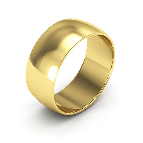 18K Yellow Gold 8mm half round  wedding bands
