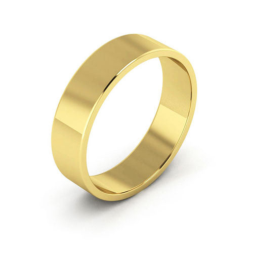 18K Yellow Gold 5mm flat  wedding bands