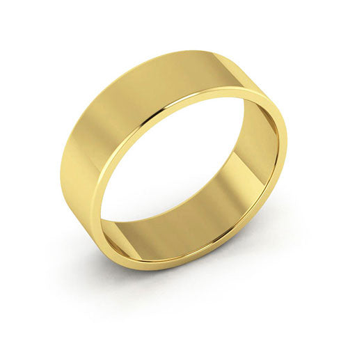 18K Yellow Gold 6mm flat  wedding bands