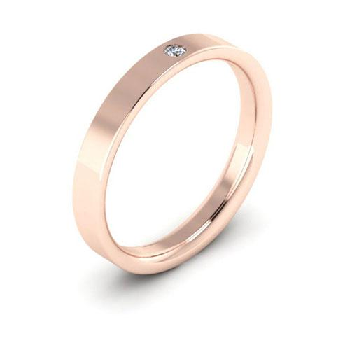 14K Rose Gold 3mm flat comfort fit diamond wedding bands
