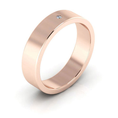 14K Rose Gold 5mm flat  diamond wedding bands