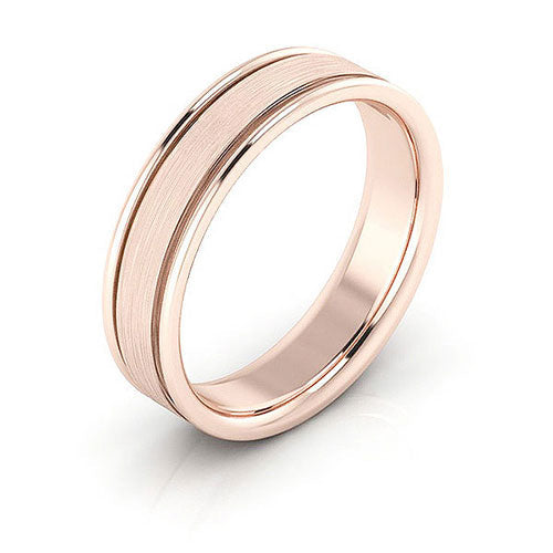 14K Rose Gold 5mm raised edge brushed center comfort fit wedding bands