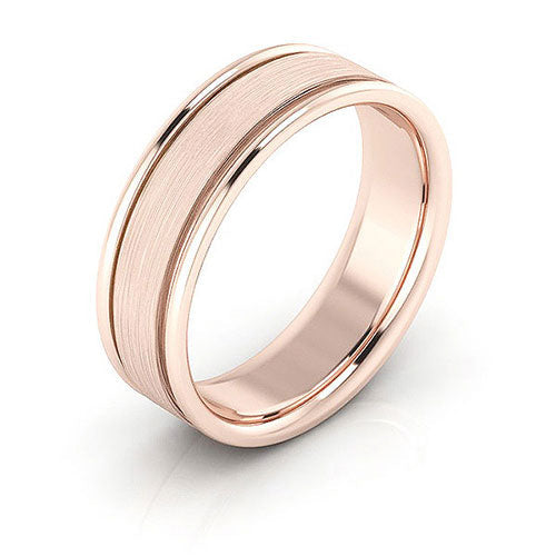 14K Rose Gold 6mm raised edge brushed center comfort fit wedding bands