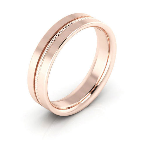 14K Rose Gold 5mm milgrain grooved  comfort fit wedding bands