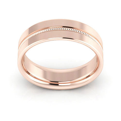 14K Rose Gold 6mm milgrain grooved  comfort fit wedding bands