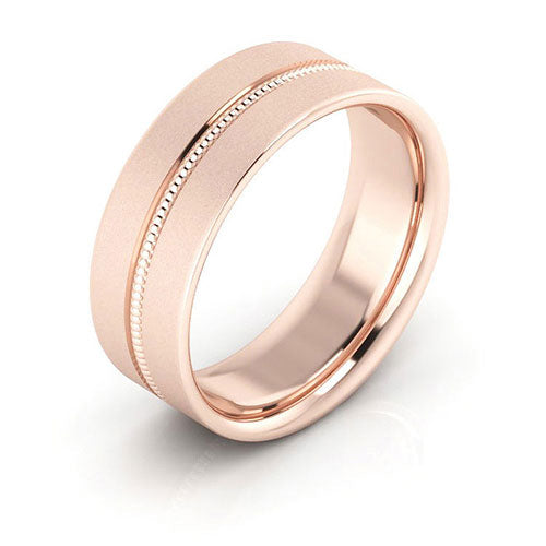 14K Rose Gold 7mm milgrain grooved  brushed comfort fit wedding bands