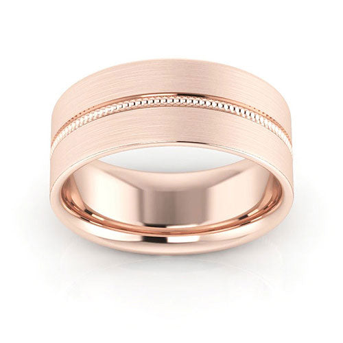 14K Rose Gold 8mm milgrain grooved  brushed comfort fit wedding bands