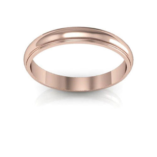 14K Rose Gold 3mm half round edge  wedding bands