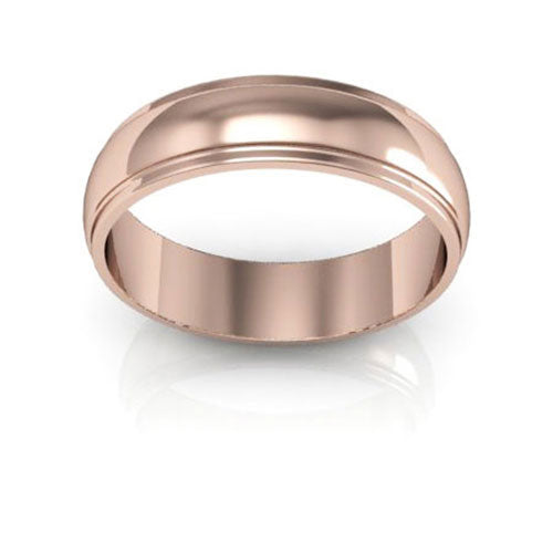14K Rose Gold 5mm half round edge  wedding bands