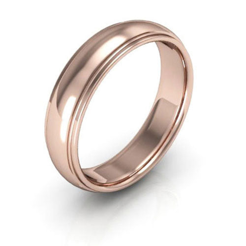 14K Rose Gold 5mm half round edge comfort fit wedding bands