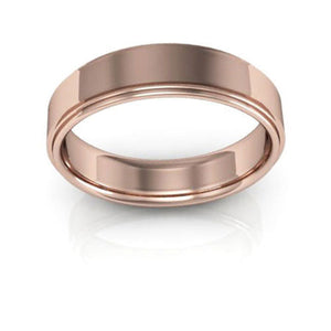 14K Rose Gold 5mm flat edge comfort fit wedding bands