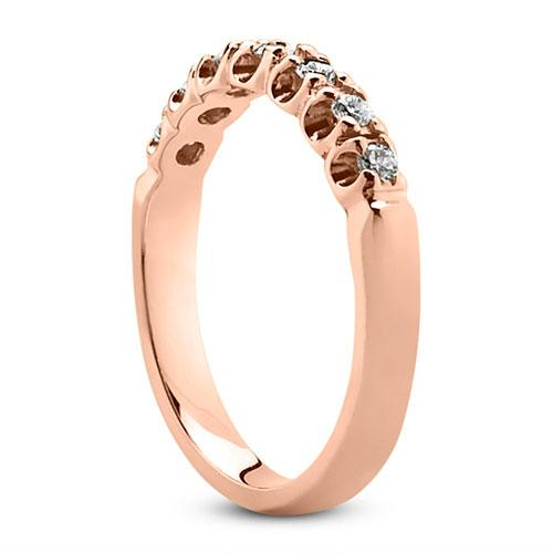 14K Rose gold 3mm prong set   0.21 carats diamond wedding bands.