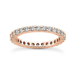14K Rose gold 2mm eternity  women's 0.75-0.90 carats diamond wedding bands.