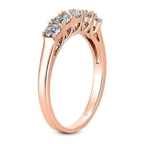 14K Rose gold 2mm prong set  women's 0.50 carats diamond wedding bands.