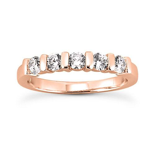 14K Rose gold 3mm bar set  women's 0.50 carats diamond wedding bands.