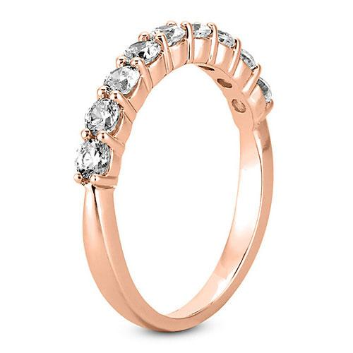 14K Rose gold 2.5mm prong set  women's 0.63 carats diamond wedding bands.