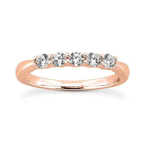 14K Rose gold 2.5mm prong set  women's 0.35 carats diamond wedding bands.