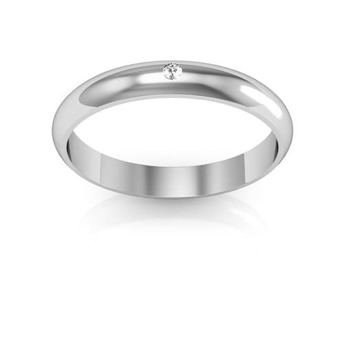 18K White Gold 3mm half round  diamond wedding bands