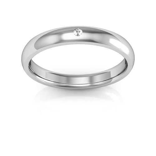 18K White Gold 3mm half round comfort fit diamond wedding bands