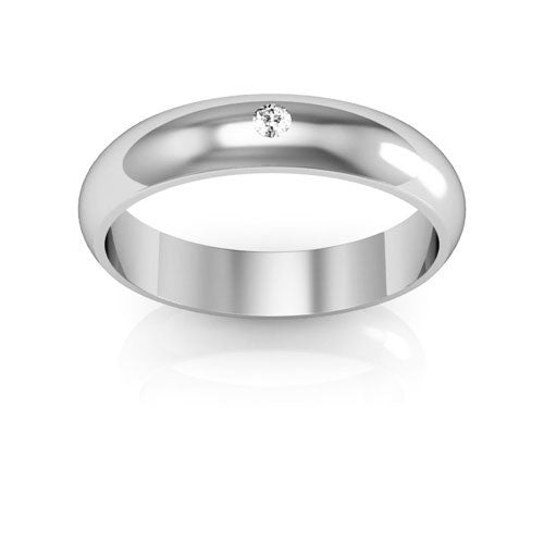 18K White Gold 4mm half round  diamond wedding bands