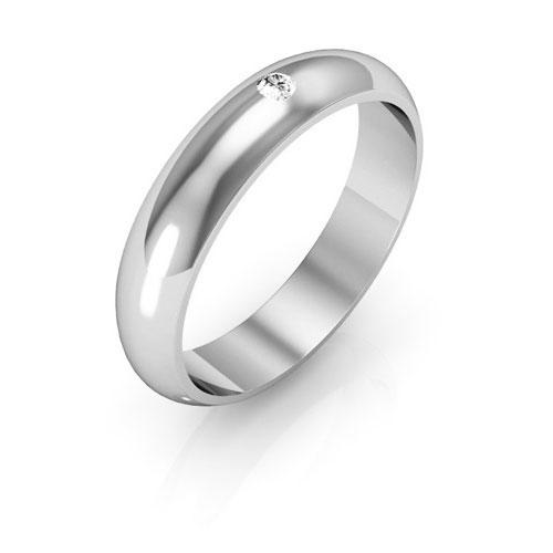 Platinum 4mm half round  diamond wedding bands