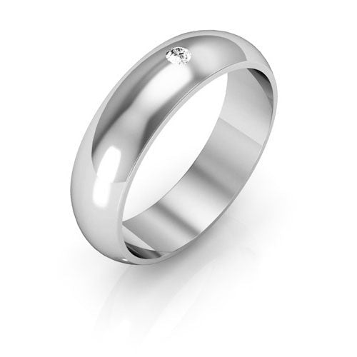 14K White Gold 5mm half round  diamond wedding bands