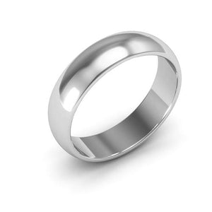10K White Gold 5mm half round  wedding bands