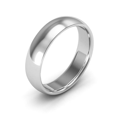 Silver 5mm half round comfort fit wedding bands