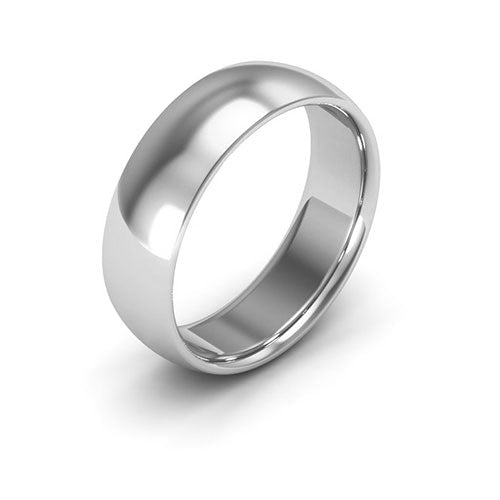 Silver 6mm half round comfort fit wedding bands