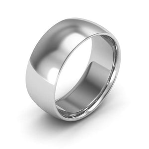 Silver 8mm half round comfort fit wedding bands
