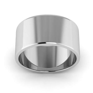 10K White Gold 10mm flat  wedding bands