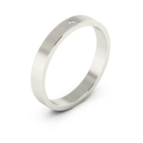 18K White Gold 3mm flat  diamond wedding bands