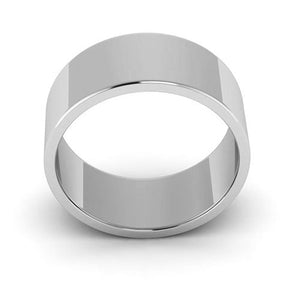 14K White Gold 8mm flat  wedding bands