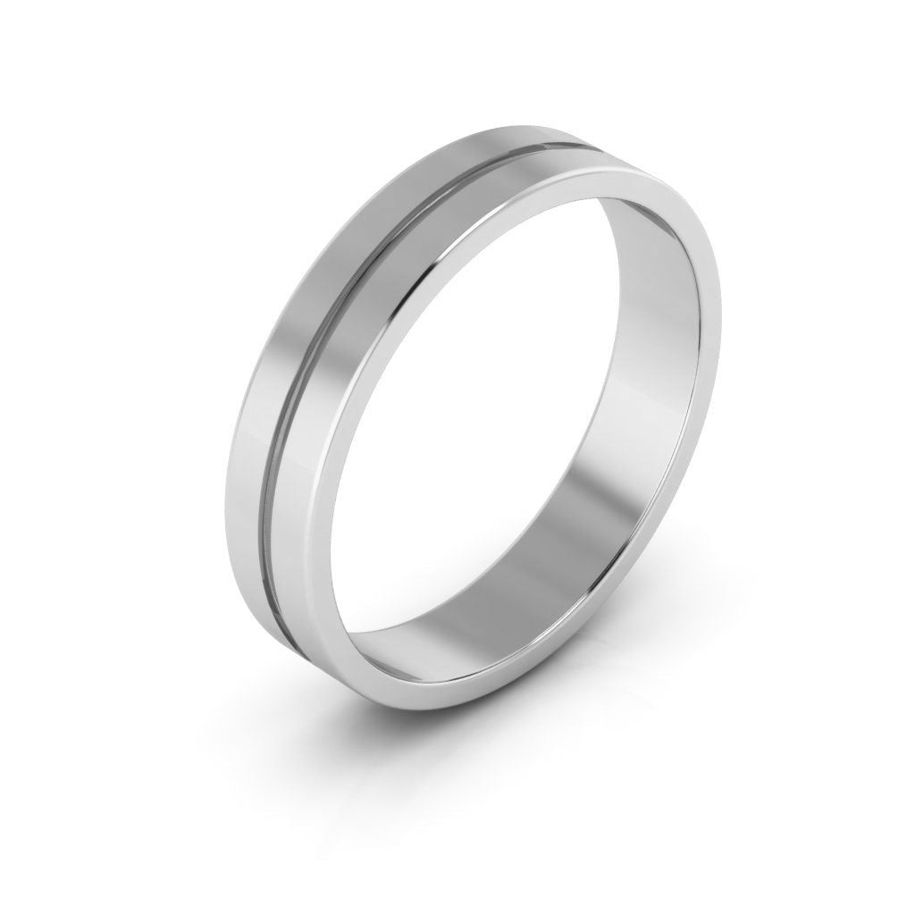 14K White Gold 4mm rigged flat  wedding bands