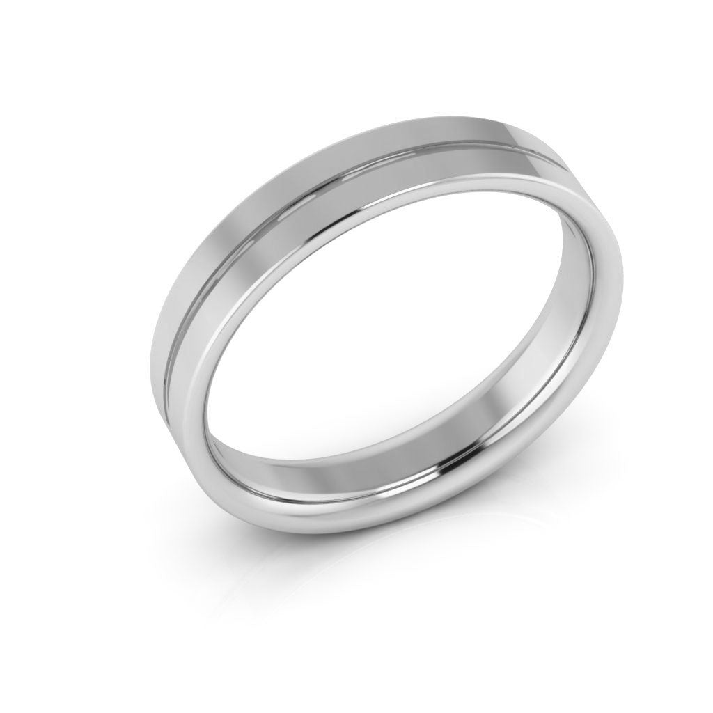 14K White Gold 4mm rigged flat comfort fit  wedding bands