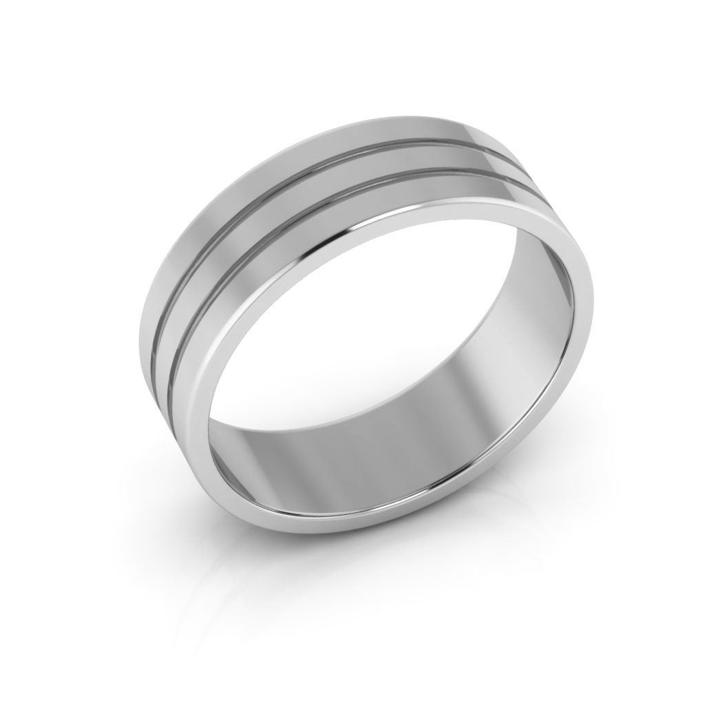 14K White Gold 6mm rigged flat  wedding bands
