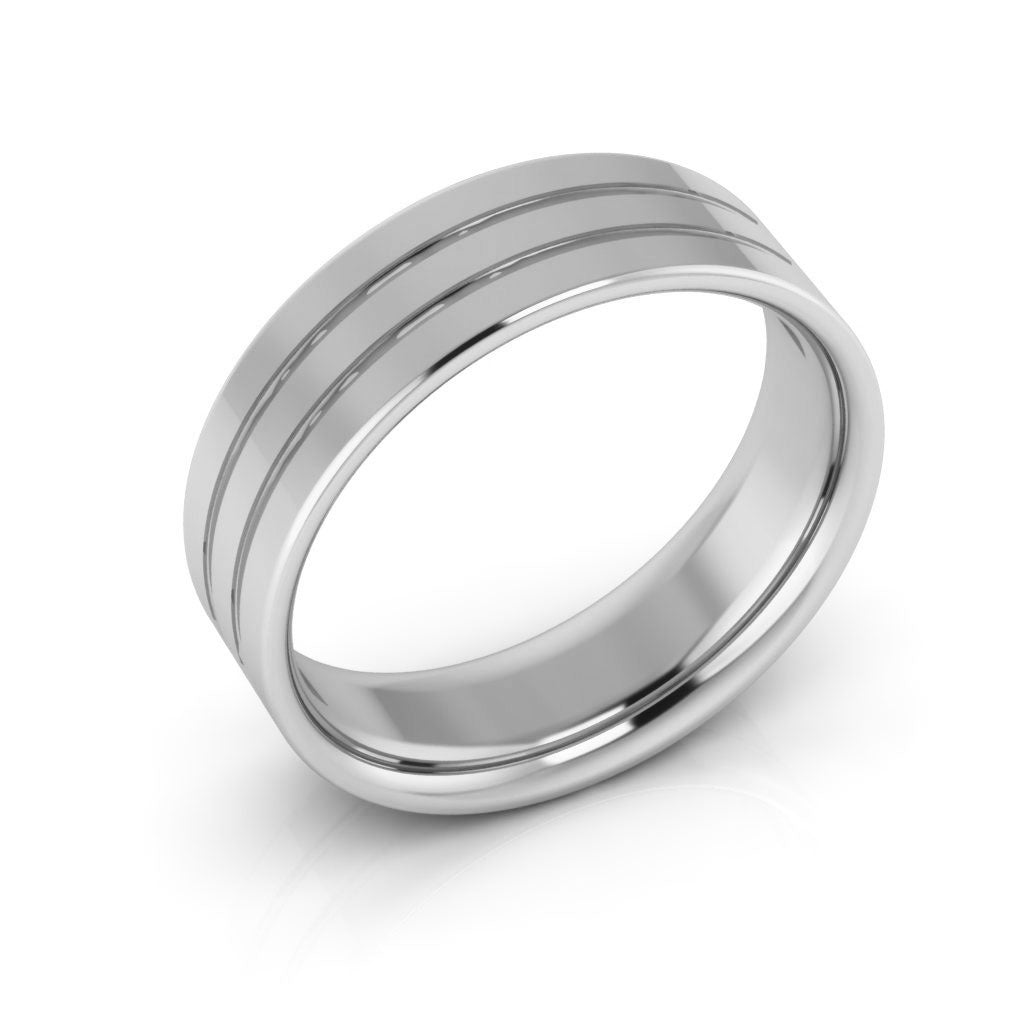 10K White Gold 6mm rigged flat comfort fit  wedding bands