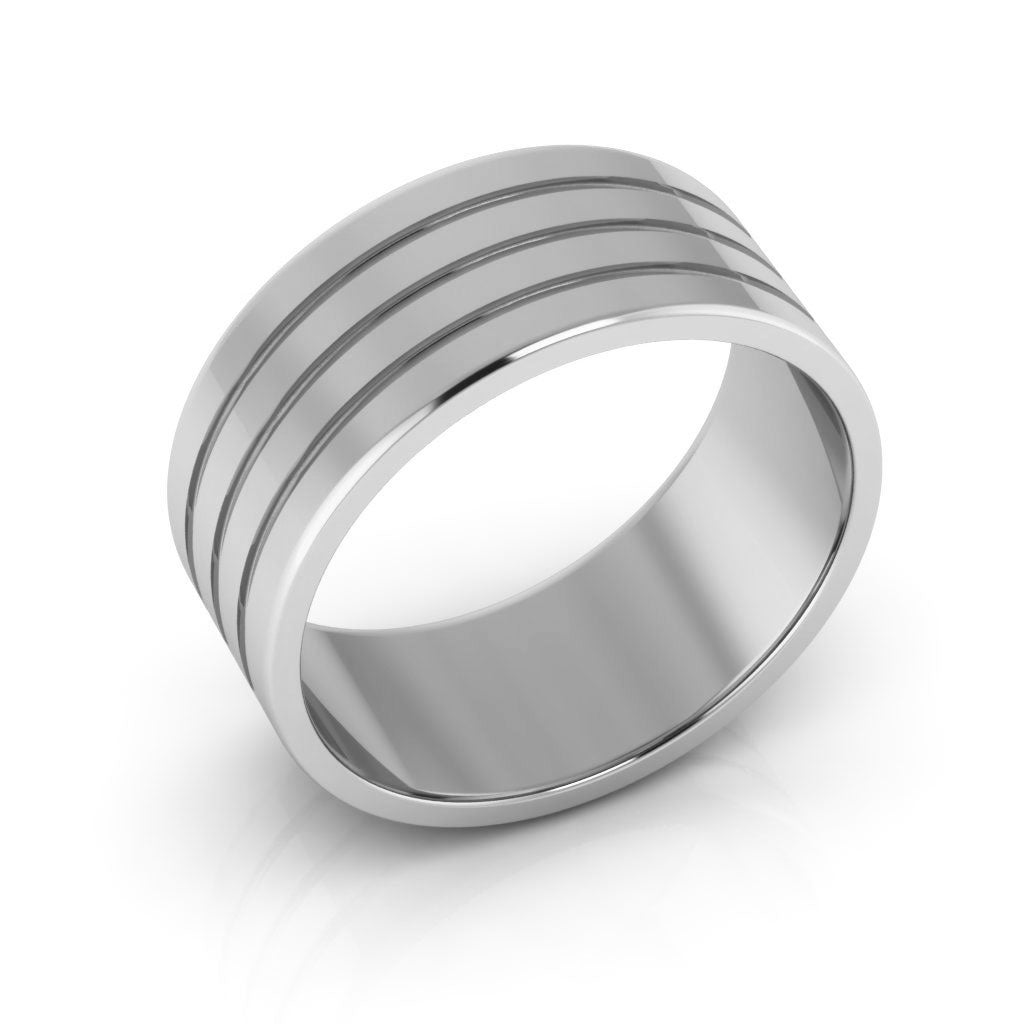 10K White Gold 8mm rigged flat  wedding bands