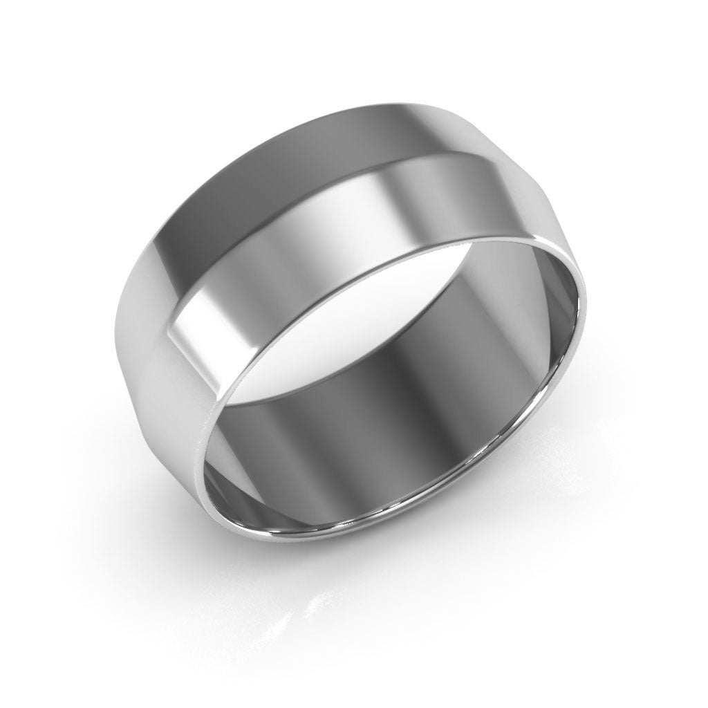 14K White Gold 8mm knife edge  wedding bands