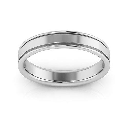 18K White Gold 4mm raised edge comfort fit wedding bands