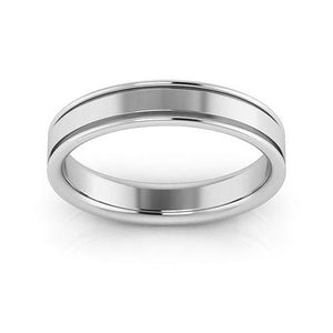 Platinum 4mm raised edge comfort fit wedding bands