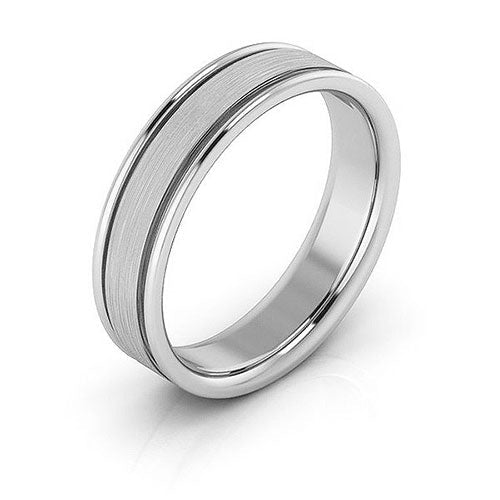 14K White Gold 5mm raised edge brushed center comfort fit wedding bands