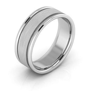 10K White Gold 7mm raised edge brushed center comfort fit wedding bands