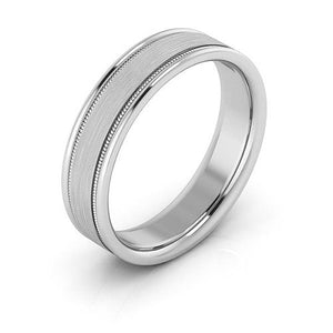 14K White Gold 5mm milgrain raised edge brushed center comfort fit wedding bands