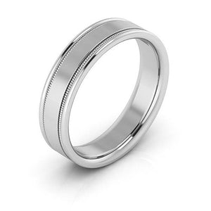 14K White Gold 5mm milgrain raised edge comfort fit wedding bands