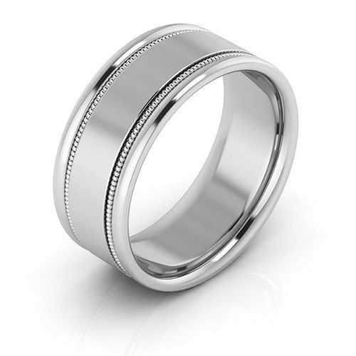 14K White Gold 8mm milgrain raised edge comfort fit wedding bands