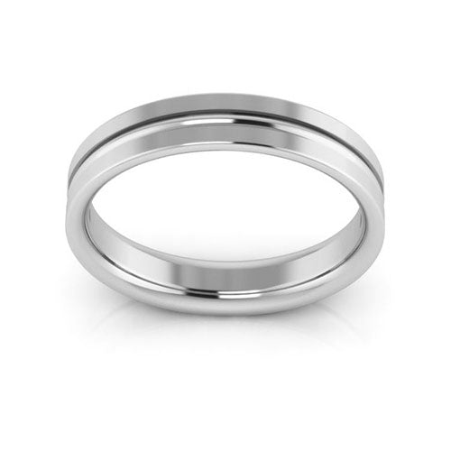 14K White Gold 4mm grooved comfort fit wedding bands