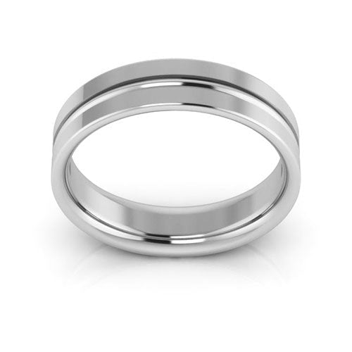 18K White Gold 5mm grooved comfort fit wedding bands
